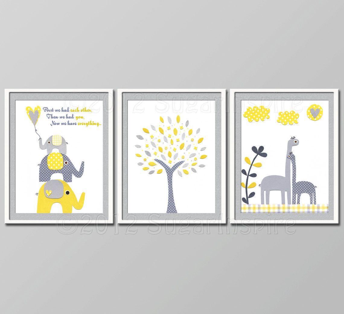 Yellow And Grey Nursery Decor Kids Room Baby Children Wall Art Elephant Giraffe First We Had