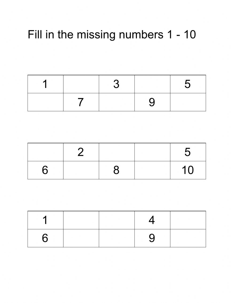 Fill in the missing numbers 1 10 Interactive worksheet