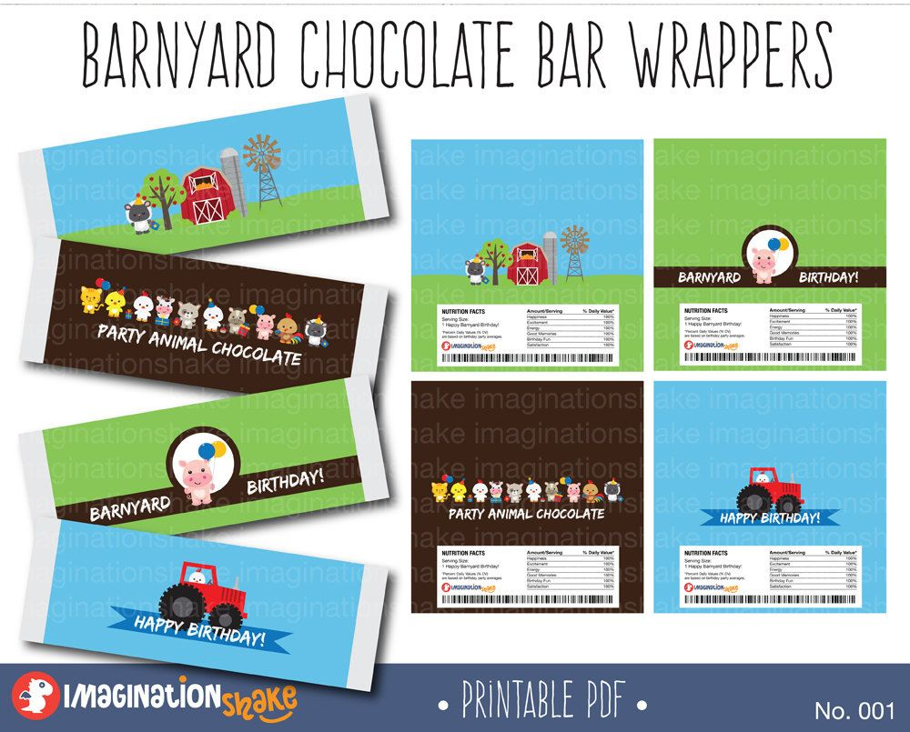 Barnyard Birthday Chocolate Bar Wrappers PRINTABLE / Farm Animals Birthday Party / Party Printable Candy Bar Wrappers / Hershey Bar /No. 001 - pinned by pin4etsy.com