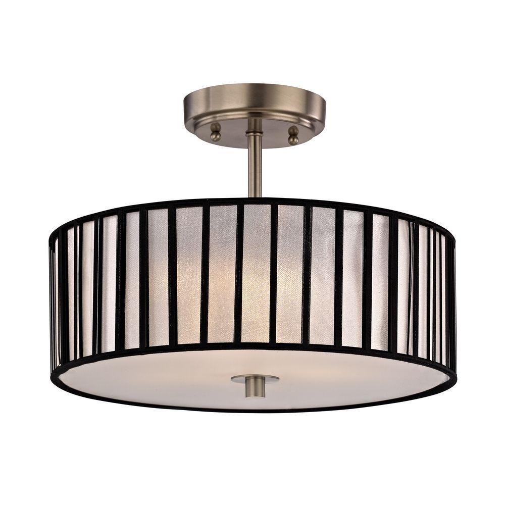 139 Design Classics Modern Semi Flushmount Ceiling Fixture With Drum Shade Dcl 6543 09 Sh9468 What About This In The Kitchen It S 300 Watts