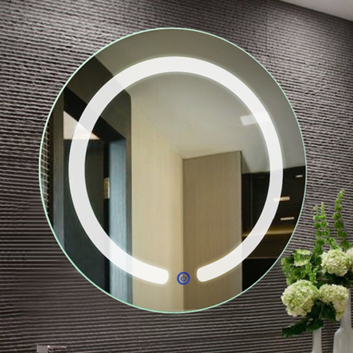 20 Led Touch Button Wall Mount Bathroom Round Mirror Led Mirror Mirror Design Wall Mirror Interior Design