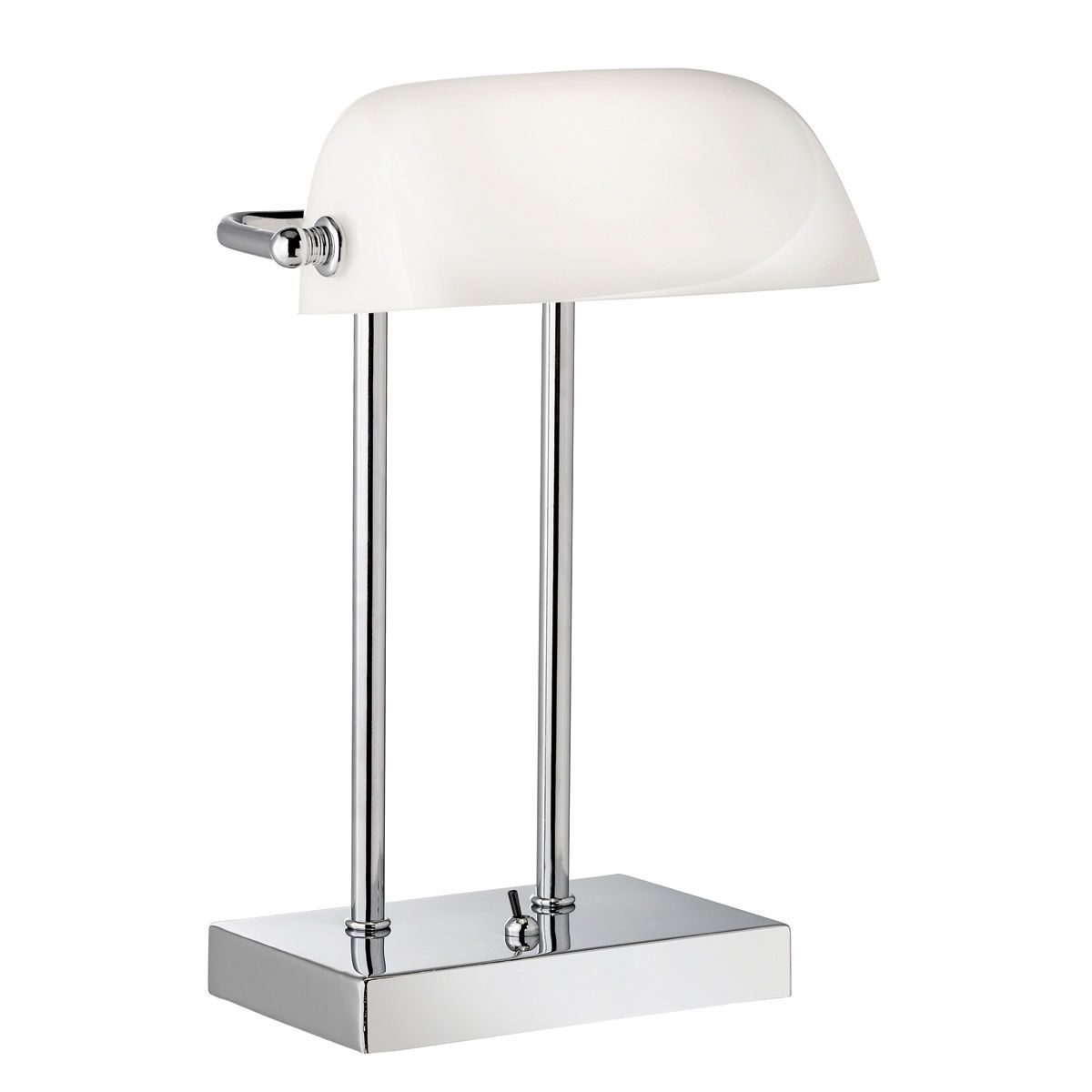 Bankers Style Chrome Table Lamp With White Glass Shade From Dushka Ltd London Uk Bankers Lamp Chrome Table Lamp Table Lamp