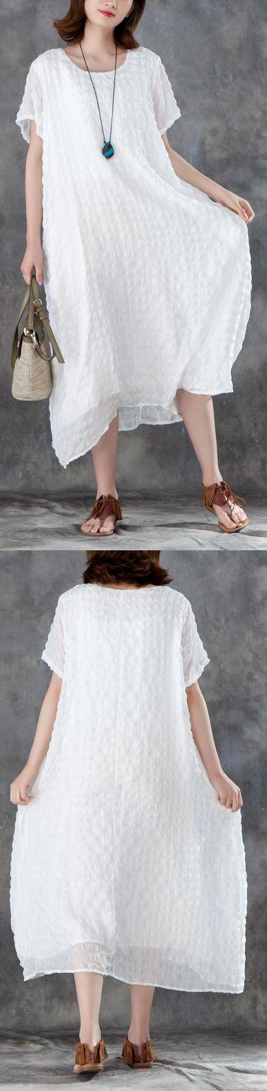 b07dd9a402 stylish-linen-blended-sundress-trendy-plus-size-Women-Short-Sleeve-Plain- White-Pullovers-Dress