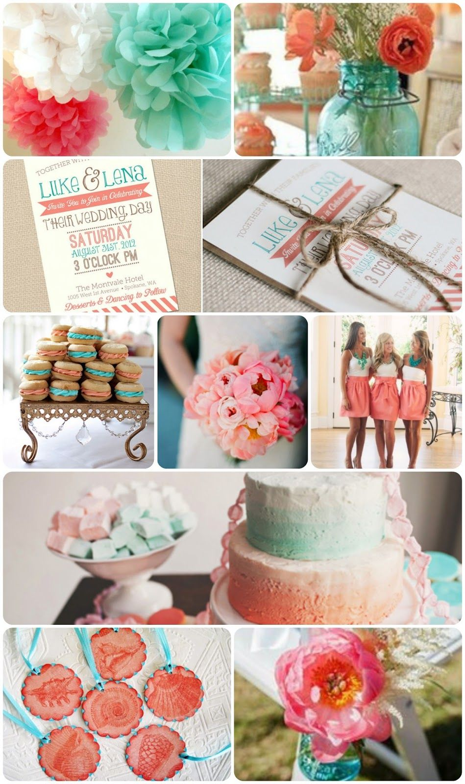 Bride To Be Fitness: Coral & Turquoise Wedding Inspiration | Ideas ...