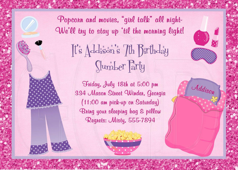 Carte Anniversaire Carte Invitation Soiree Pyjama