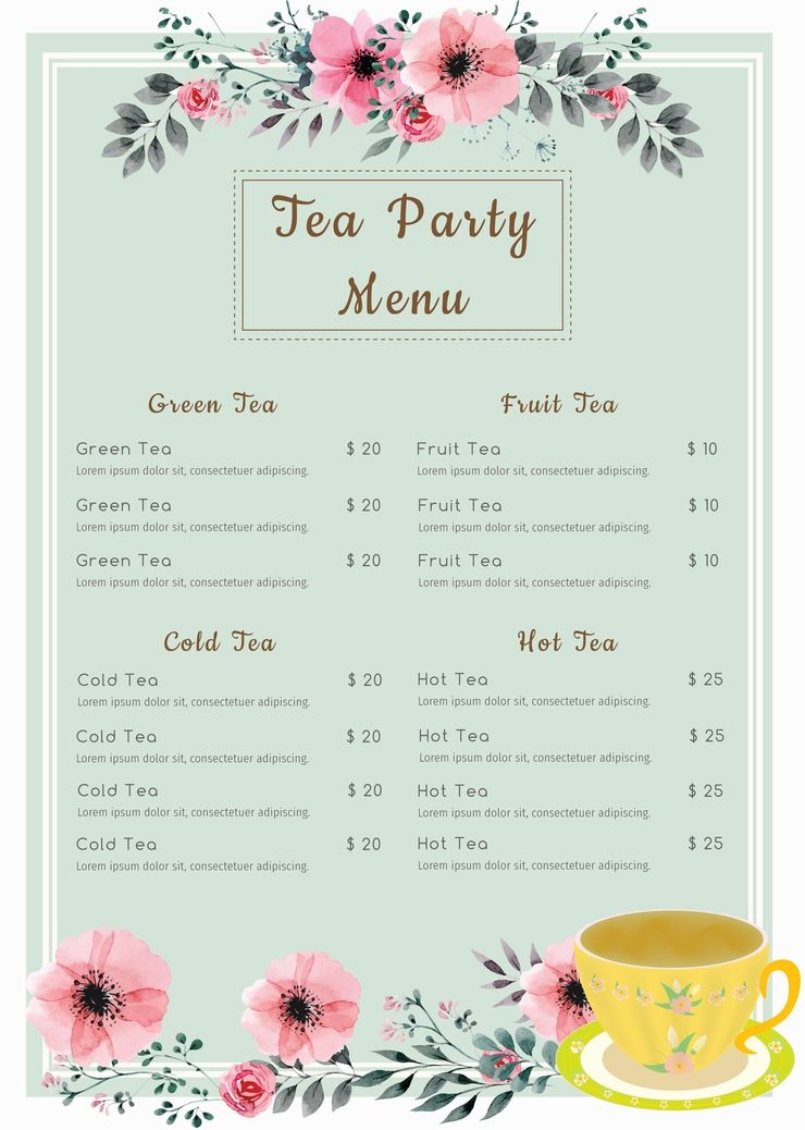 Tea Party Menu Template Suyhi Margarethaydon Com