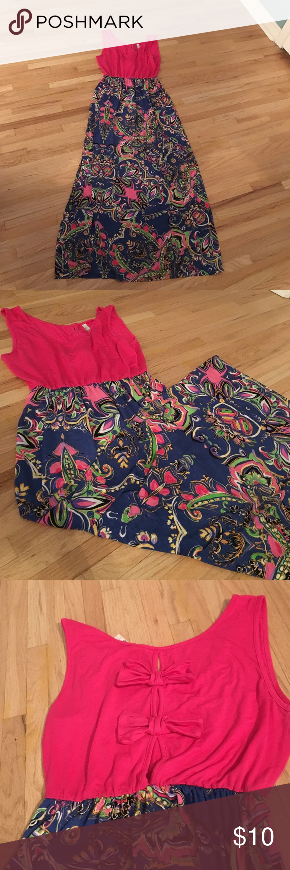 Large sundress Cute, gently worn sundress. Emerald brand, size large. Bow accents to the back. Royal blue bottom with brunt. Magenta pink top. Dresses Maxi