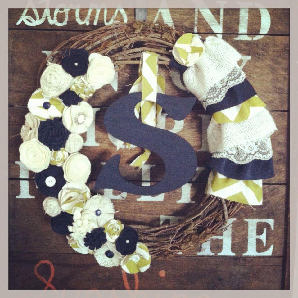 Monogram wreath large monogram wreath ruffled and by TealandOrange, $50.00