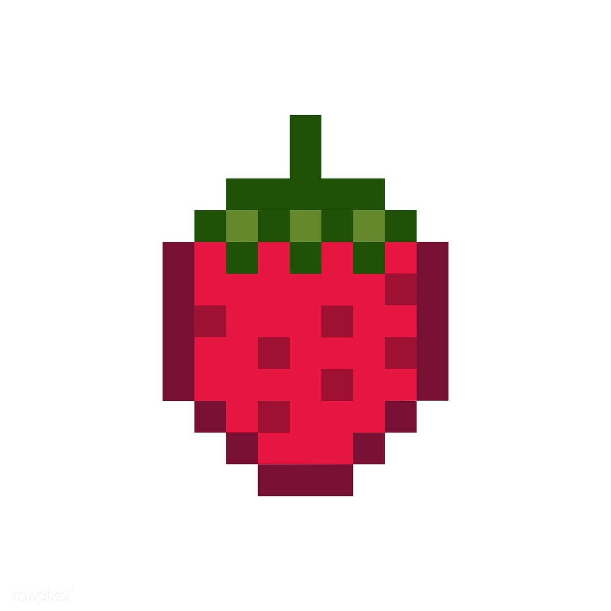 A Strawberry Pixelated Fruit Graphic Free Image By Rawpixel Com Easy Pixel Art Pixel Art Pattern Pixel Art Templates
