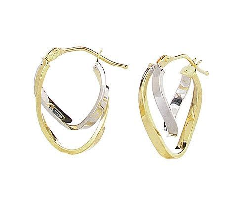 14K Yellow and White Oval Hoop Earrings