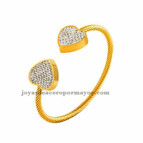 pulsera cable dorado con cristal corazon en acero inoxidable para mujer-SSBTG412984