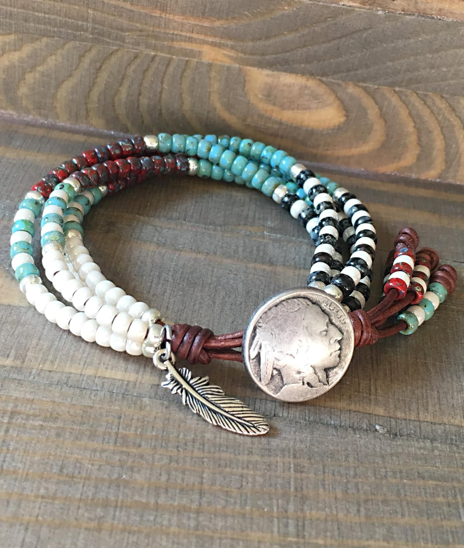 Beaded Wrap Bracelet Native American Style Leather