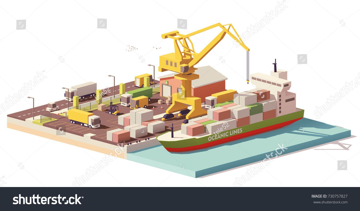 Vector Low Poly Cargo Port Container Terminal With Crane Container Ship And Warehouse Sponsored Ad Cargo Port V Container Terminal Low Poly Low Poly Art