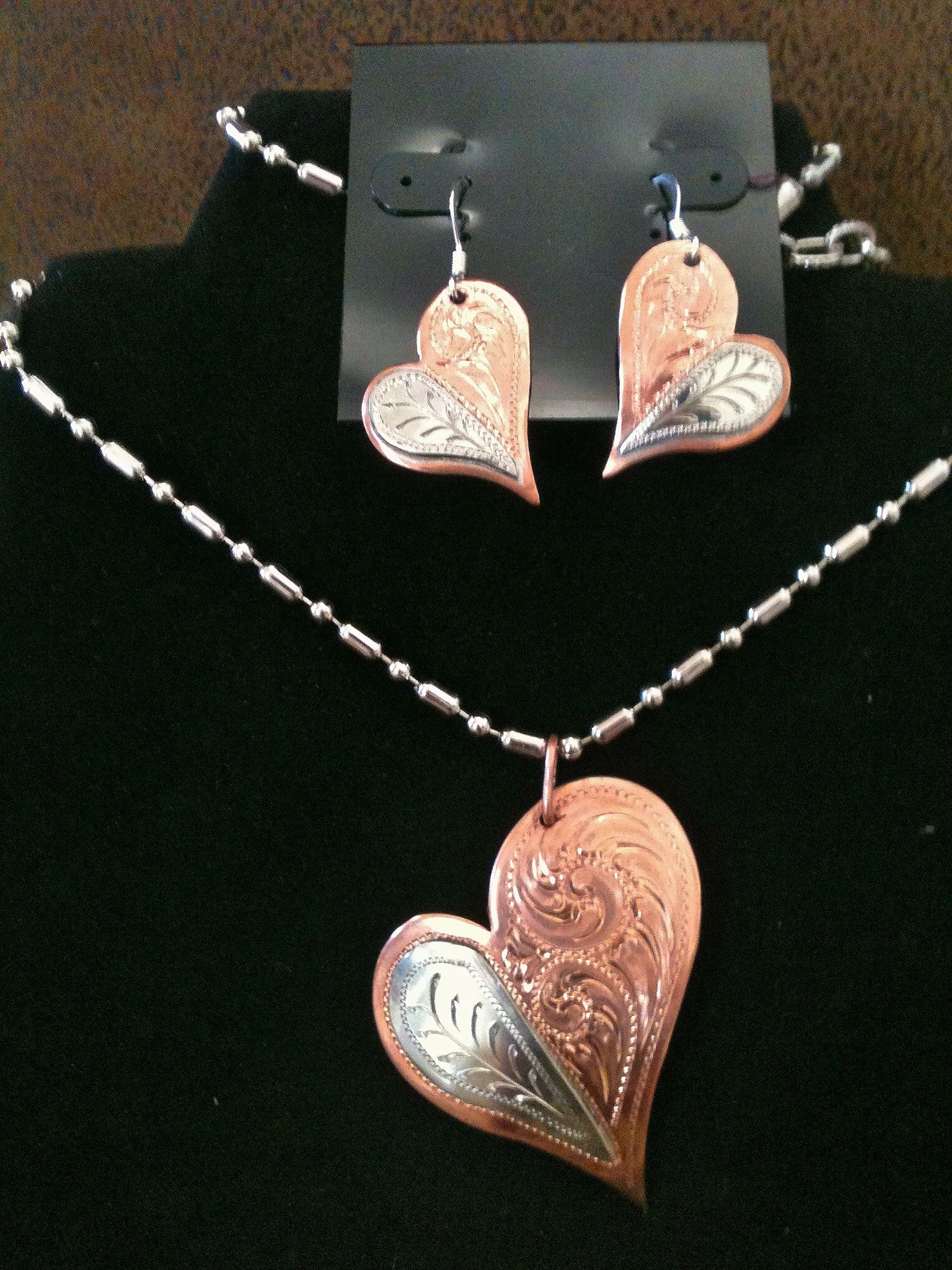 Western engraved hearts necklace and earring set jewelry