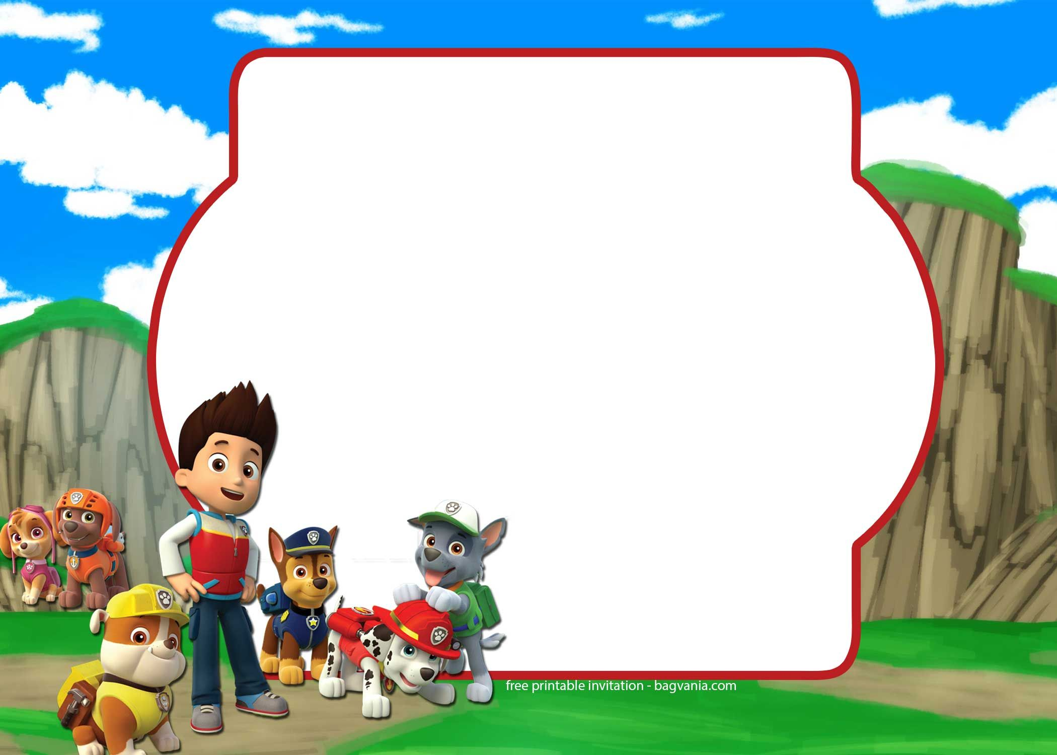 Free Paw Patrol Invitation Template Complete Collection Bagvania