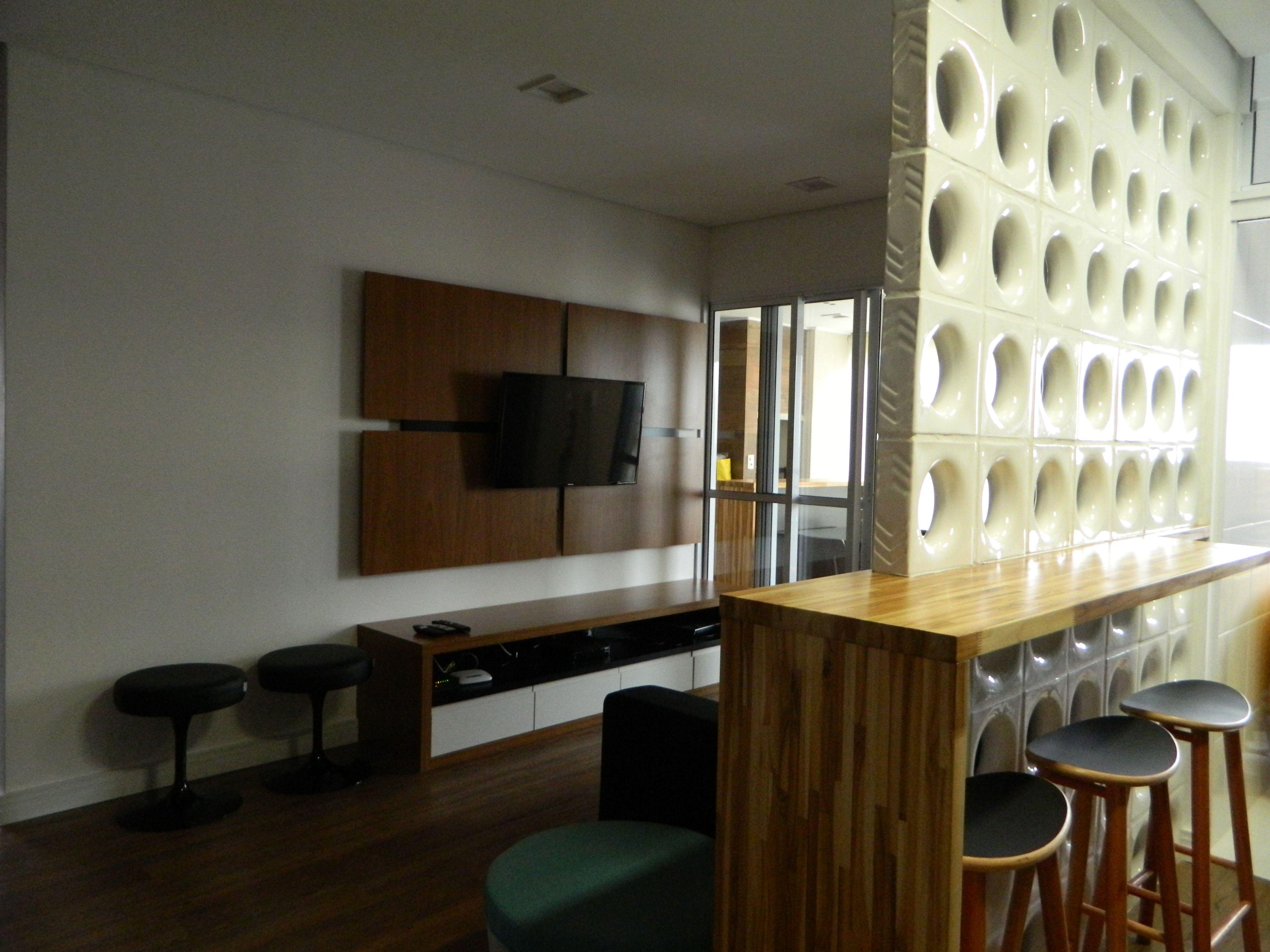 Living Integrado Cozinha Cobog Em Lou A Branco E Balc O Em  ~ Bancada Divisoria Sala Cozinha