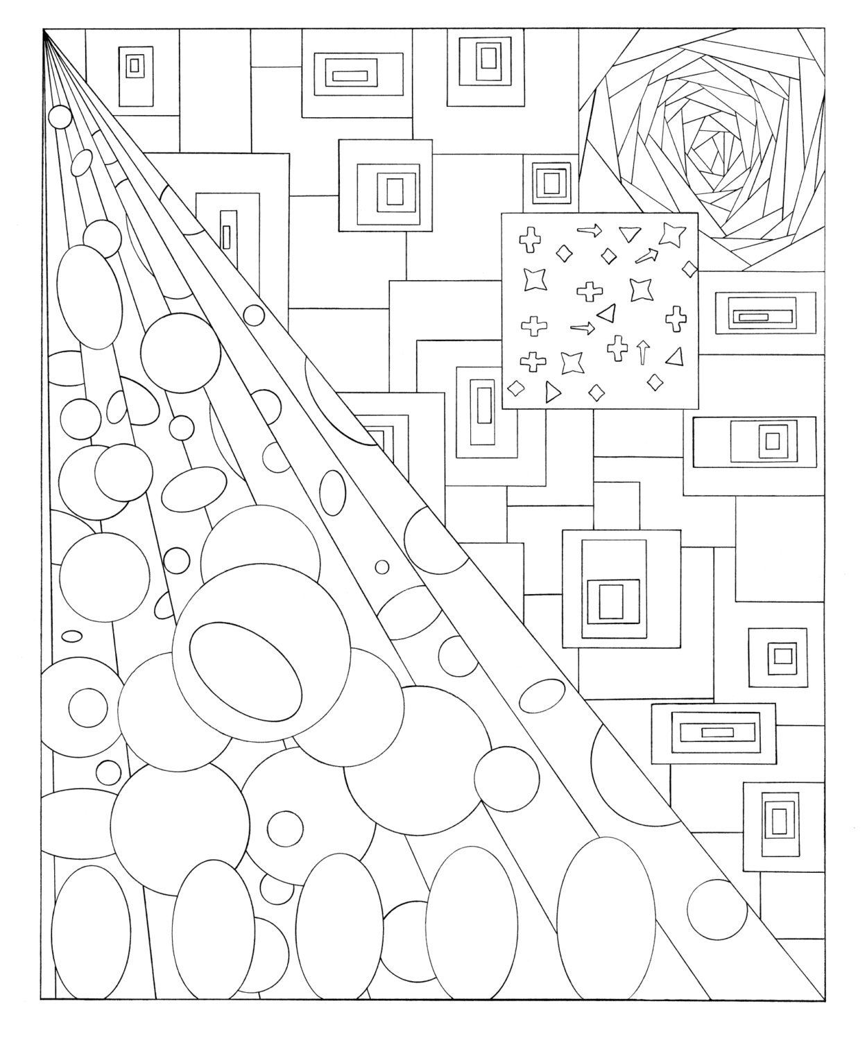 tunnel vision adult coloring page book sheets outline art etsy [ 1250 x 1500 Pixel ]