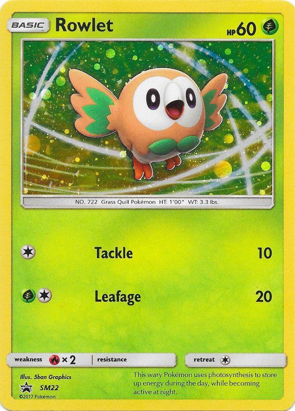 CUSTOM ART Rowlet Grass Energy Hand Painted Pokemon Card