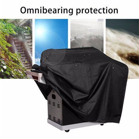 Black Outdoor Bbq Gas Grill Cover 64 Inch Waterproof Anti Heavy
