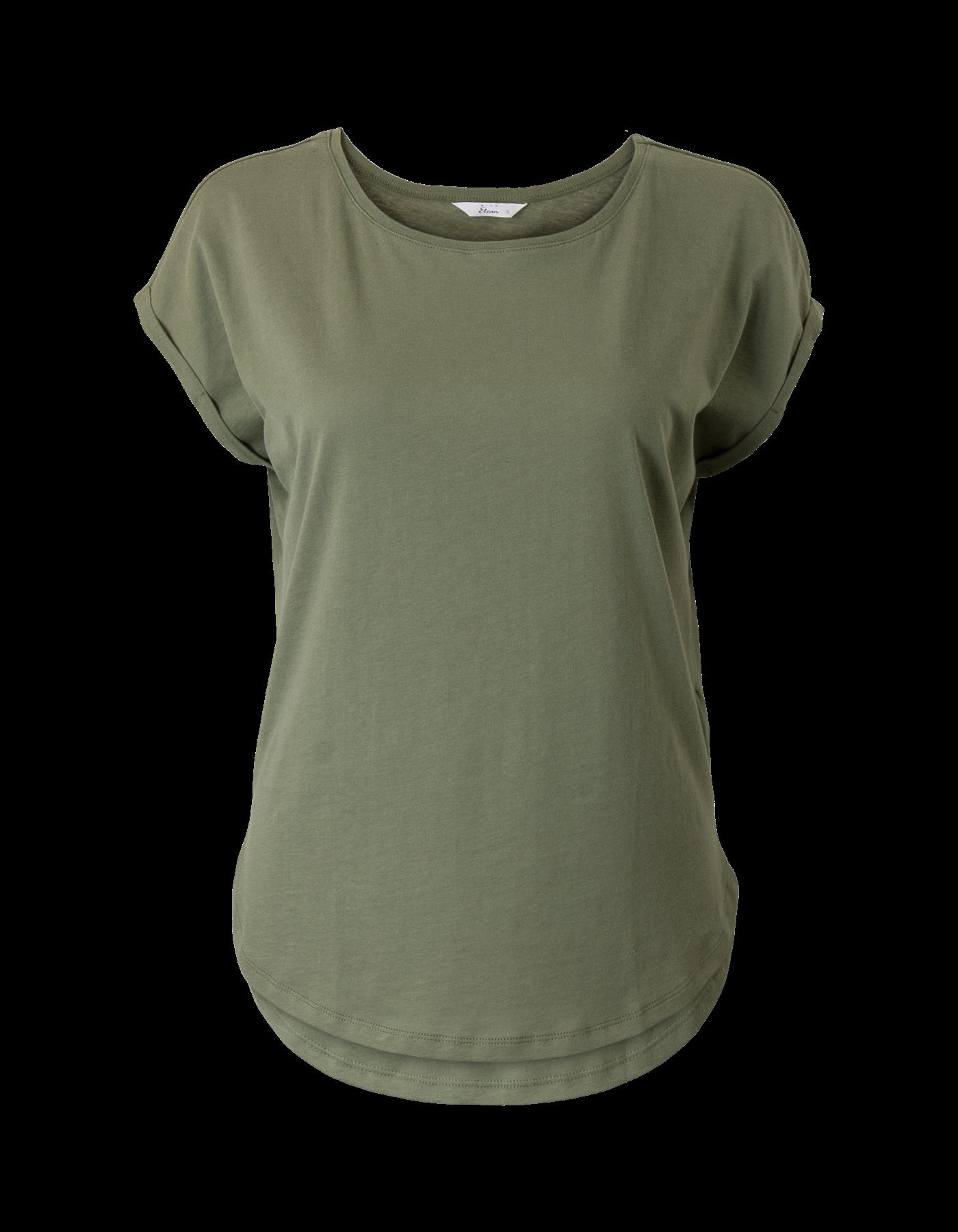 Groene top met korte mouwen en ronde hals. Het is een boxy (vierkant) model gemaakt van 100% katoen. Heuplengte.  Dit artikel behoort tot de Etam Regulier collectie.