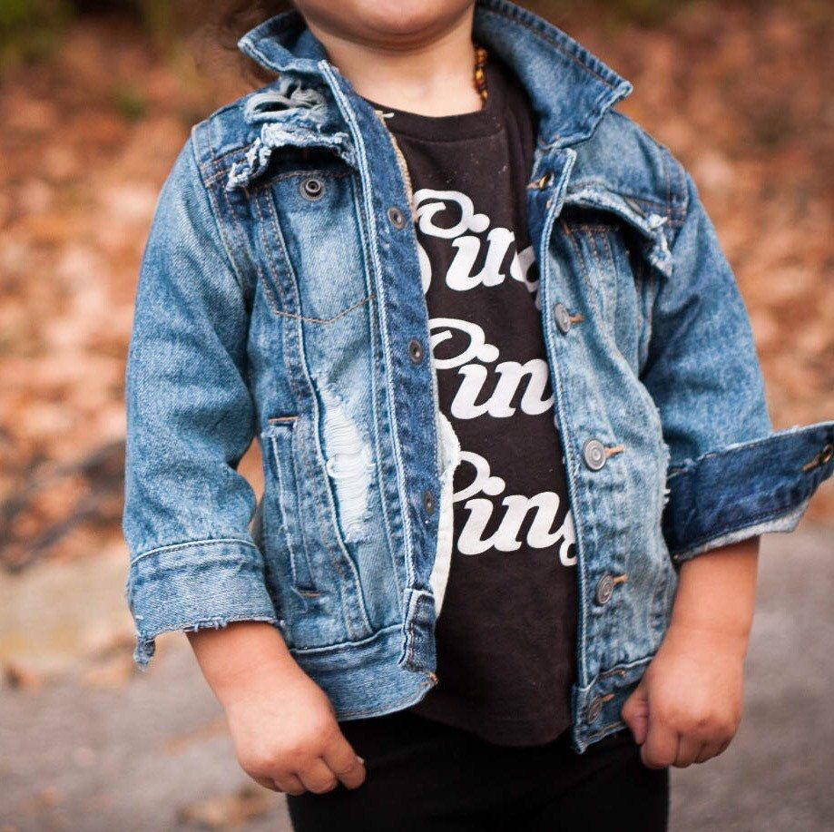 Kids Clothes Fashion Style Distressed Denim Jacket Ripped Torn Child Children Hand Distressed Denim Denim Jacket Kids Fashion Clothes Distressed Denim Jacket [ 917 x 919 Pixel ]