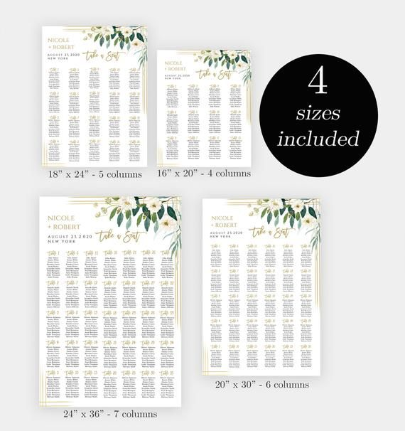 Seating Chart Sign Template, Editable Wedding Guest List