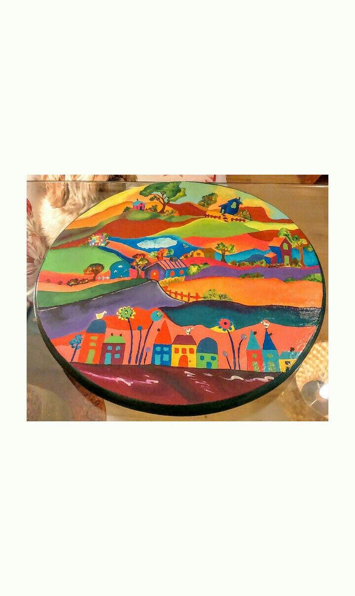 Tabla giratoria para centro de mesa. Pintura acrílica estilo Naif ...