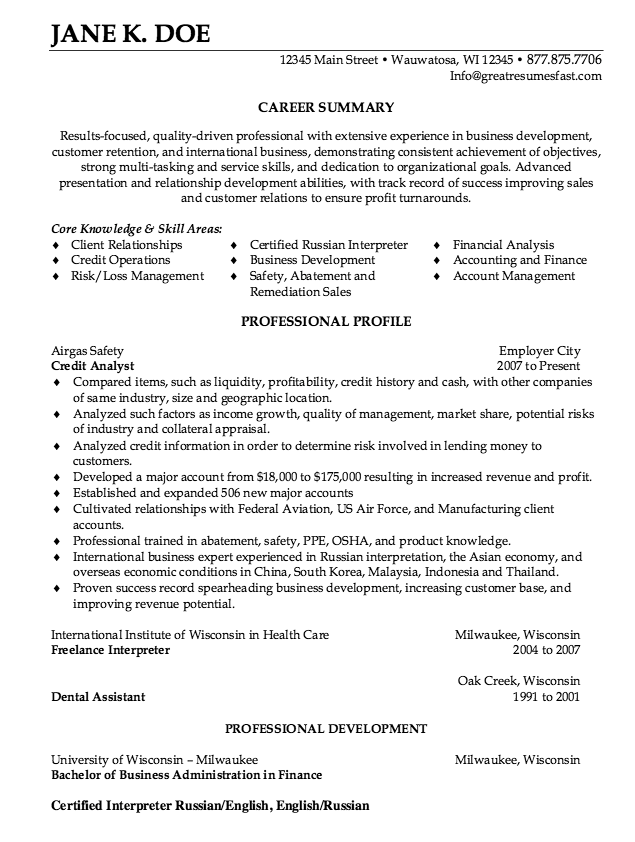 Credit Analyst Resume Sample Free Resume Sample Job Resume Samples Free Resume Samples Sample Resume Templates