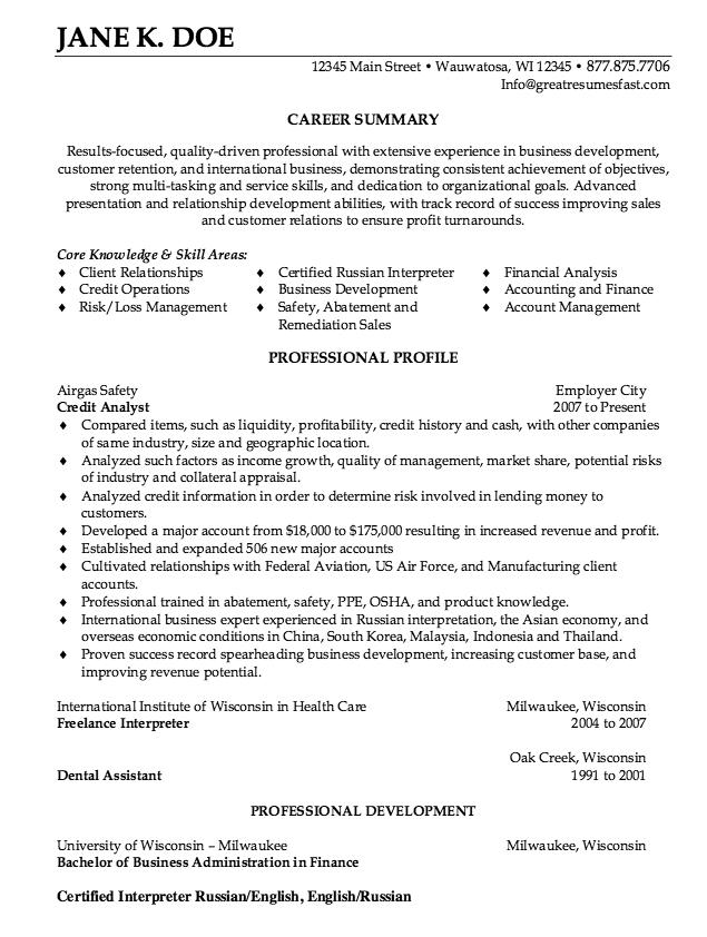 Credit Analyst Resume Sample Free Resume Sample Job Resume Samples Free Resume Samples Sample Resume Templates