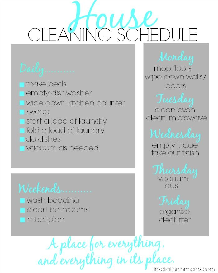 House Cleaning Schedule – Cleaning Schedule
