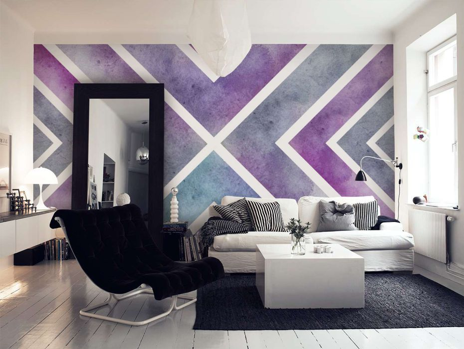 Turquoise Purple Geometric Mural Wallpaper Google Search Purple Bedroom Walls Accent Wall Bedroom Bedroom Wall