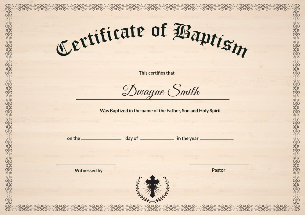 Baptism Certificate Design Template In Psd Word Throughout Baptism Certif Certificate Templates Certificate Design Template Certificate Of Achievement Template