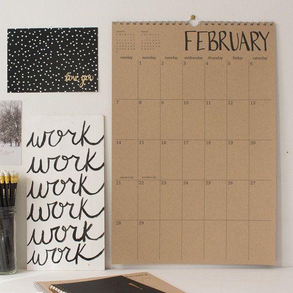 16 Month Large Kraft Hanging Wall Calendar Start Any Month