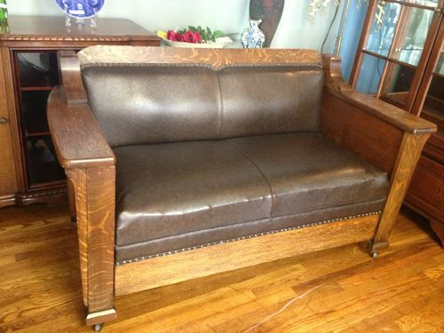 Antique Pullman Stickley Arts And Crafts Mission Style Davenport Sofa Ebay