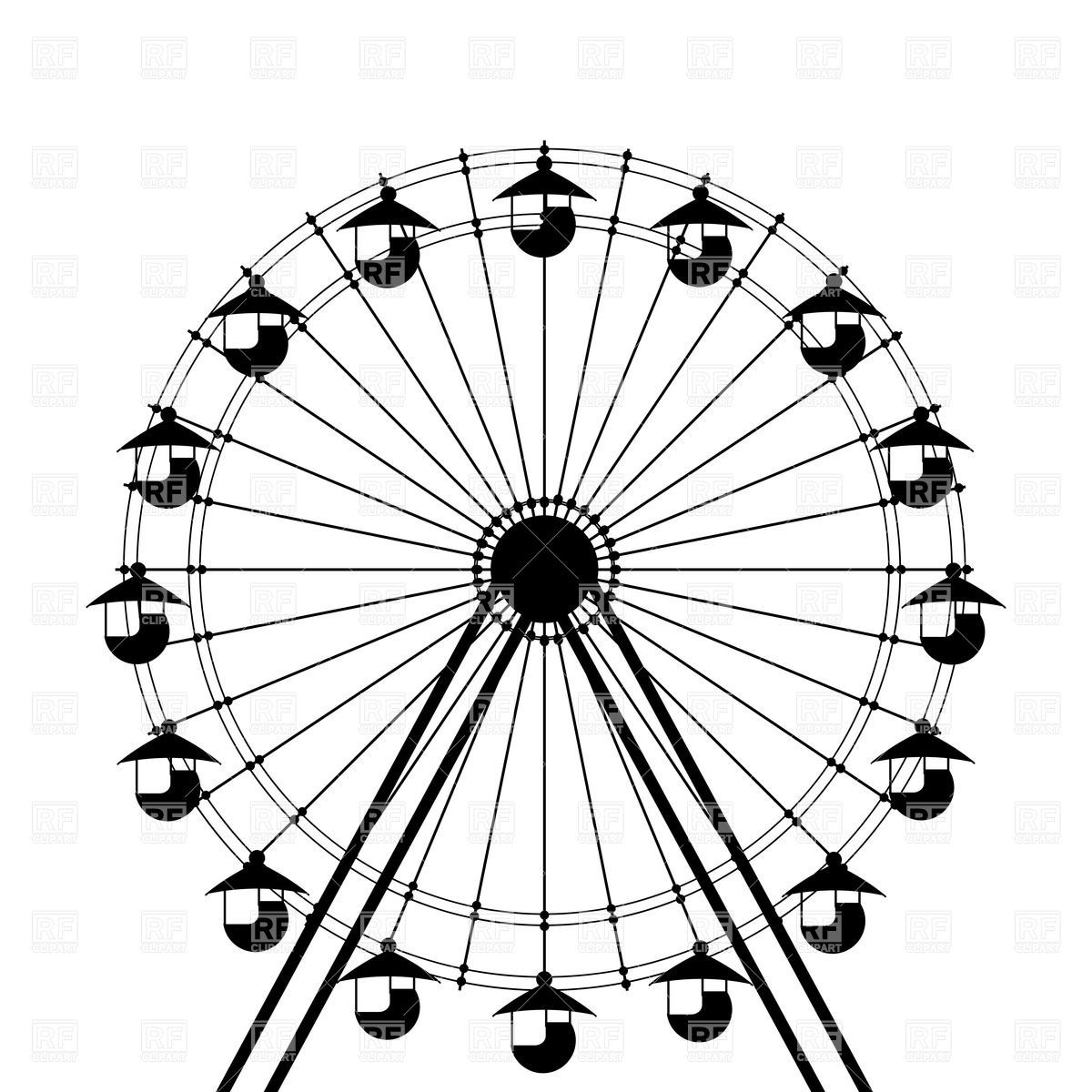 how to draw a ferris wheel cart
