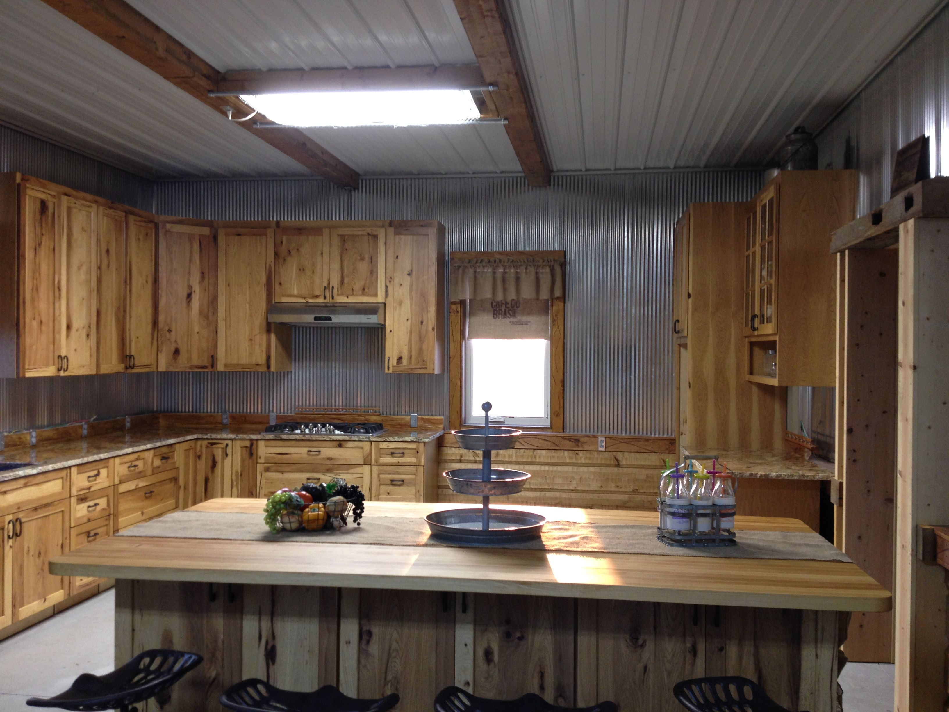 My Barn Kitchen Is Progressing Nicely Amish Made Hickory Cabinets