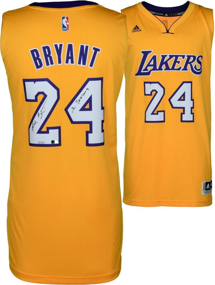 3ccd2bd3b6de Kobe Bryant LA Lakers Signed Gold Adidas Jersey   20 Seasons Insc - Panini   sportsmemorabilia. Visit. March 2019
