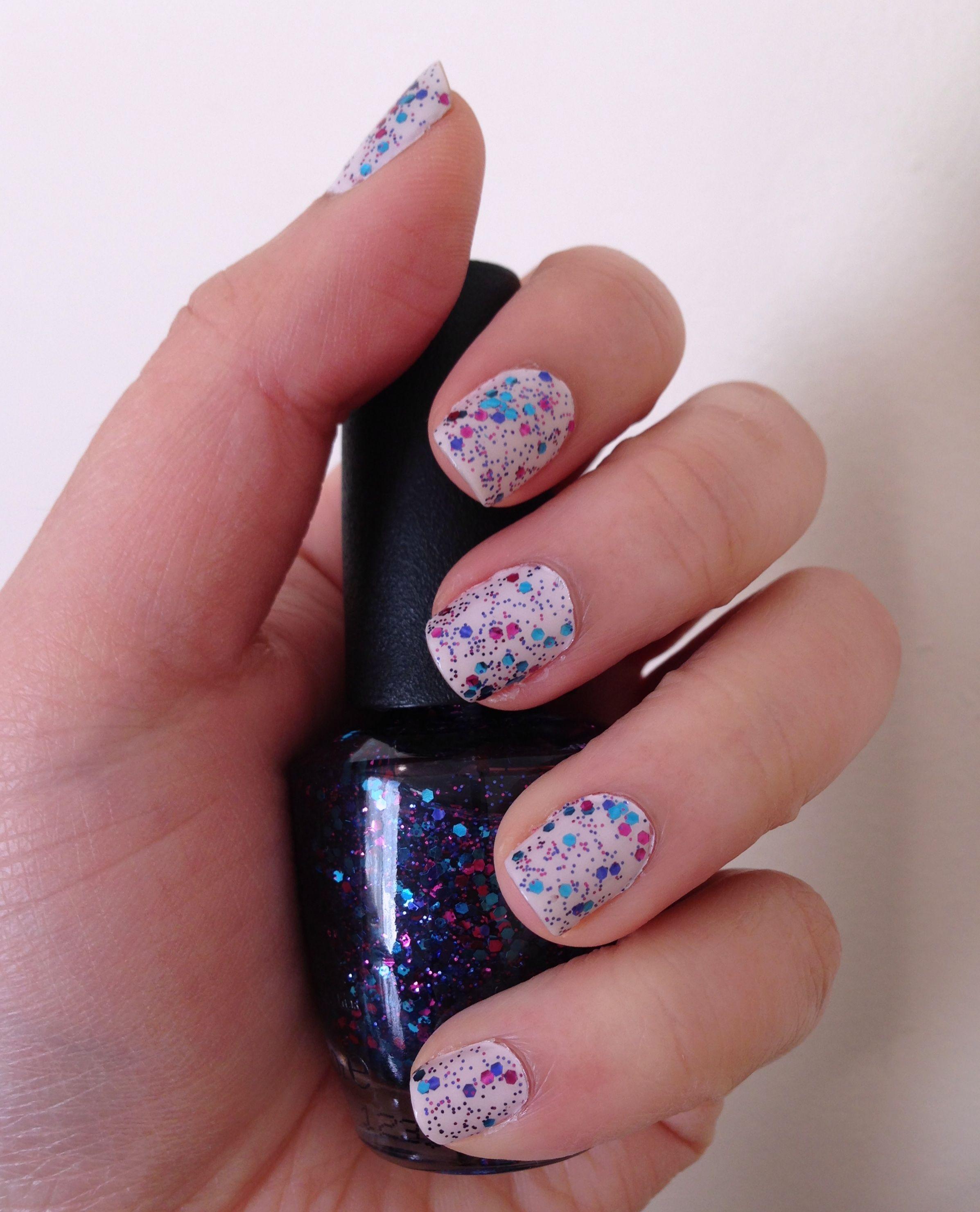 white nail polish with opi polka glitter top coat | nails