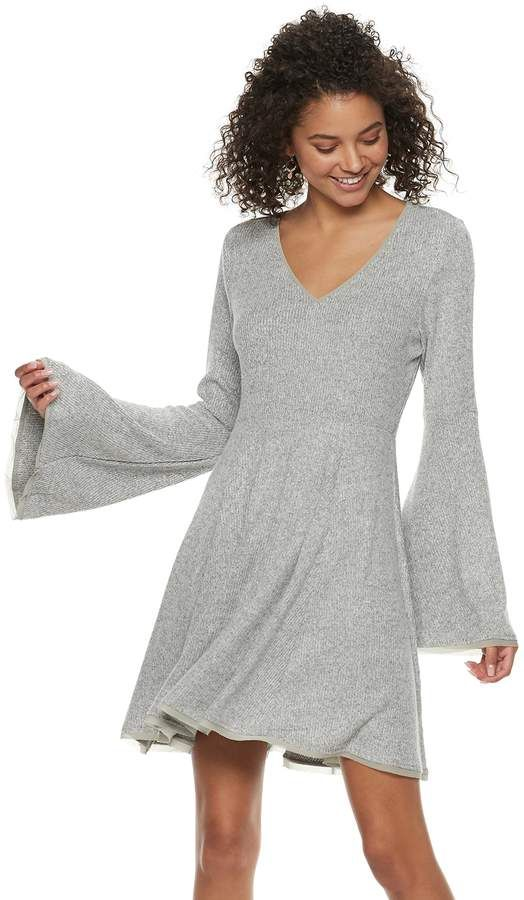 2a16de05d60a Juniors' American Rag Bell-Sleeve Fit & Flare Sweater Dress | My ...