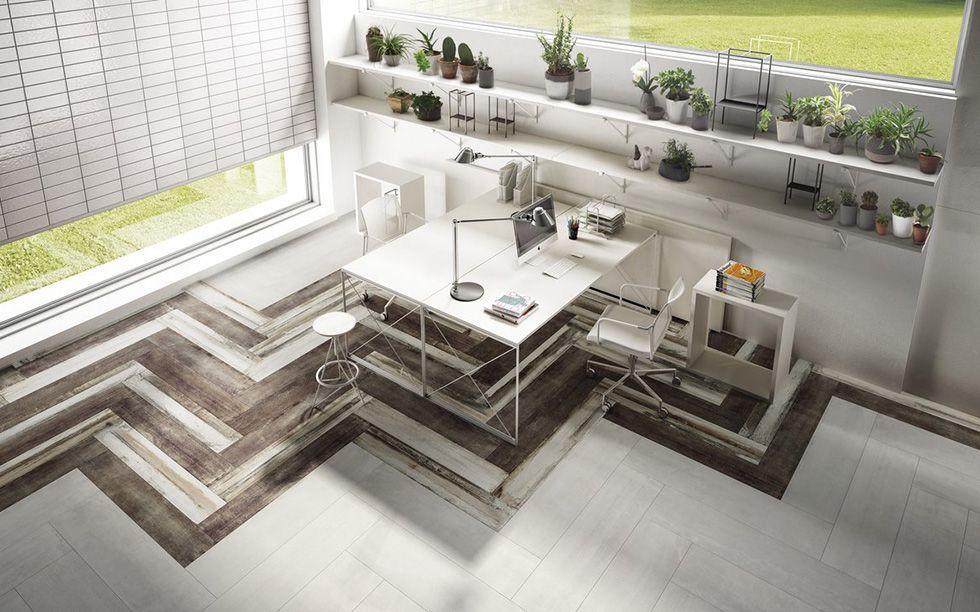 Pavimento ufficio bianco blocks 5.0 iris ceramica pavimenti
