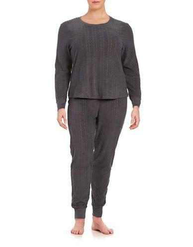 Unoaerre Plus Textured Fleece Pajama Set Women's Grey 2X