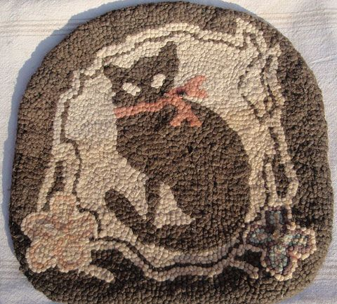 Late 19th C /Early 20th C Cat Chair Rug