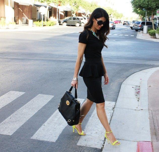 Blue peplus dress yellow heels