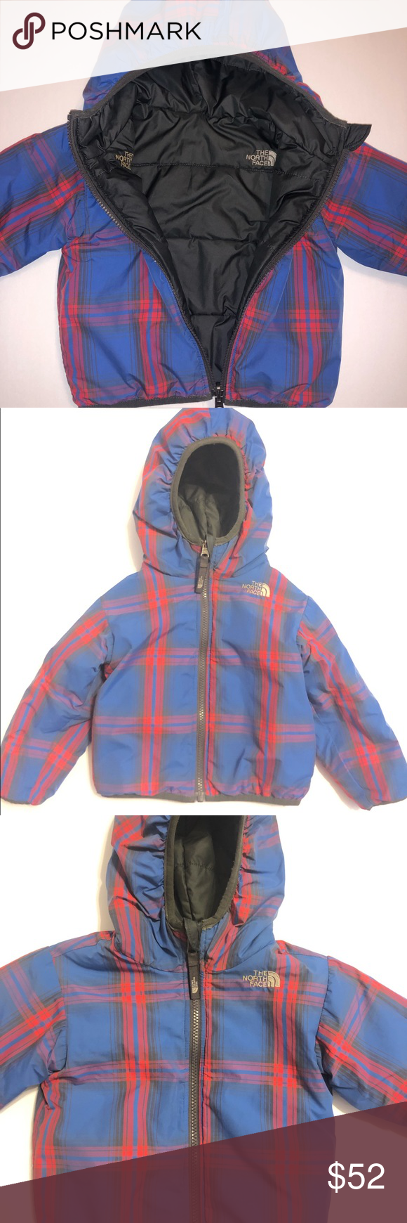 Reversible North Face Plaid And Gray Puffer Jacket Grey Puffer Jacket Jackets Puffer Jackets [ 1740 x 580 Pixel ]