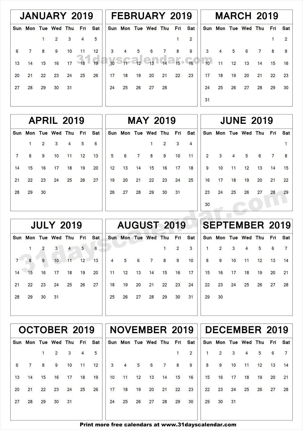 Blank Calendar 2019 To Print 2019 A4 Calendar To Print | Yearly Calendar 2019 | Printable blank