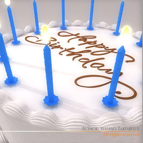 Birthday Cake 3d Model 3d Model 3d Modeling Pinterest