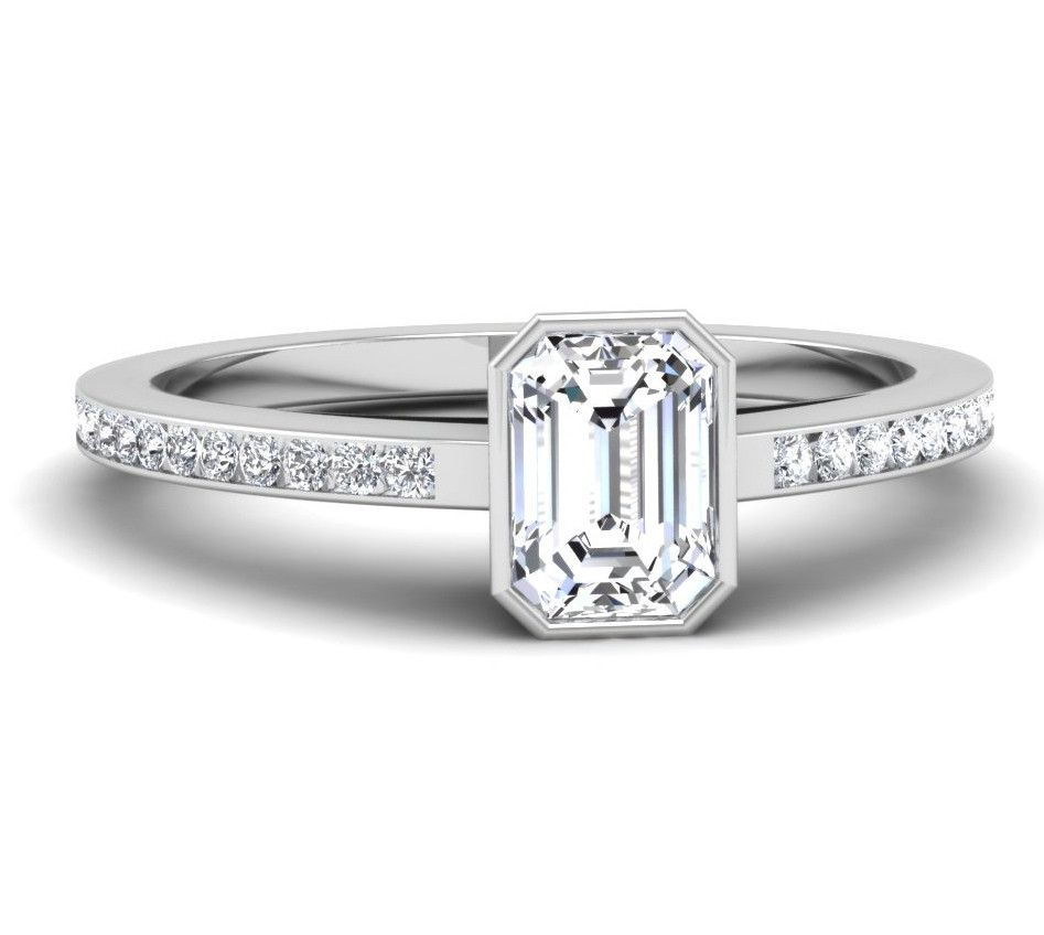 bezel set emerald cut engagement ring mounting