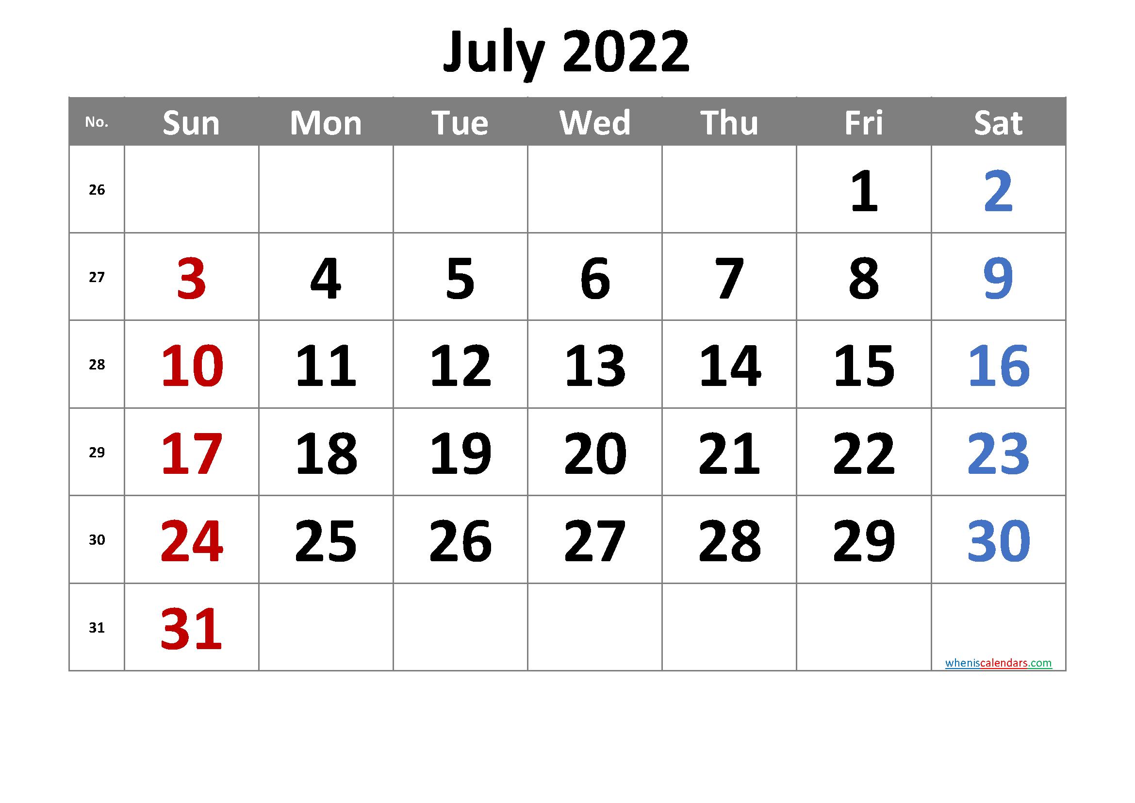 2022 July Free Printable Calendar Free Premium in 2020 ...