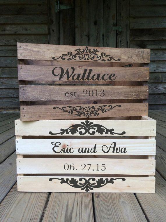 rustic wedding card box personalized wedding by therusticowlshop