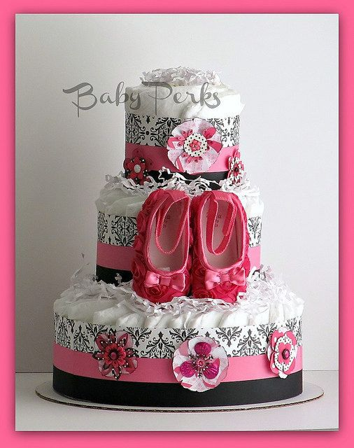 Black And Pink Baby Shower Part - 45: Hot Pink And Black Diaper Cake, Damask Baby Shower , Pink And Black Diaper  Cake